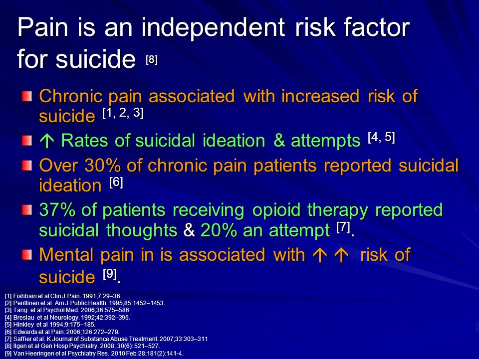 Pain is an independent risk factor for suicide [8]